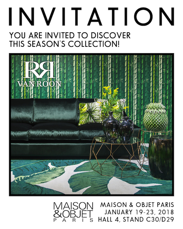 invitation maison objet paris january 2018 van roon living. Black Bedroom Furniture Sets. Home Design Ideas